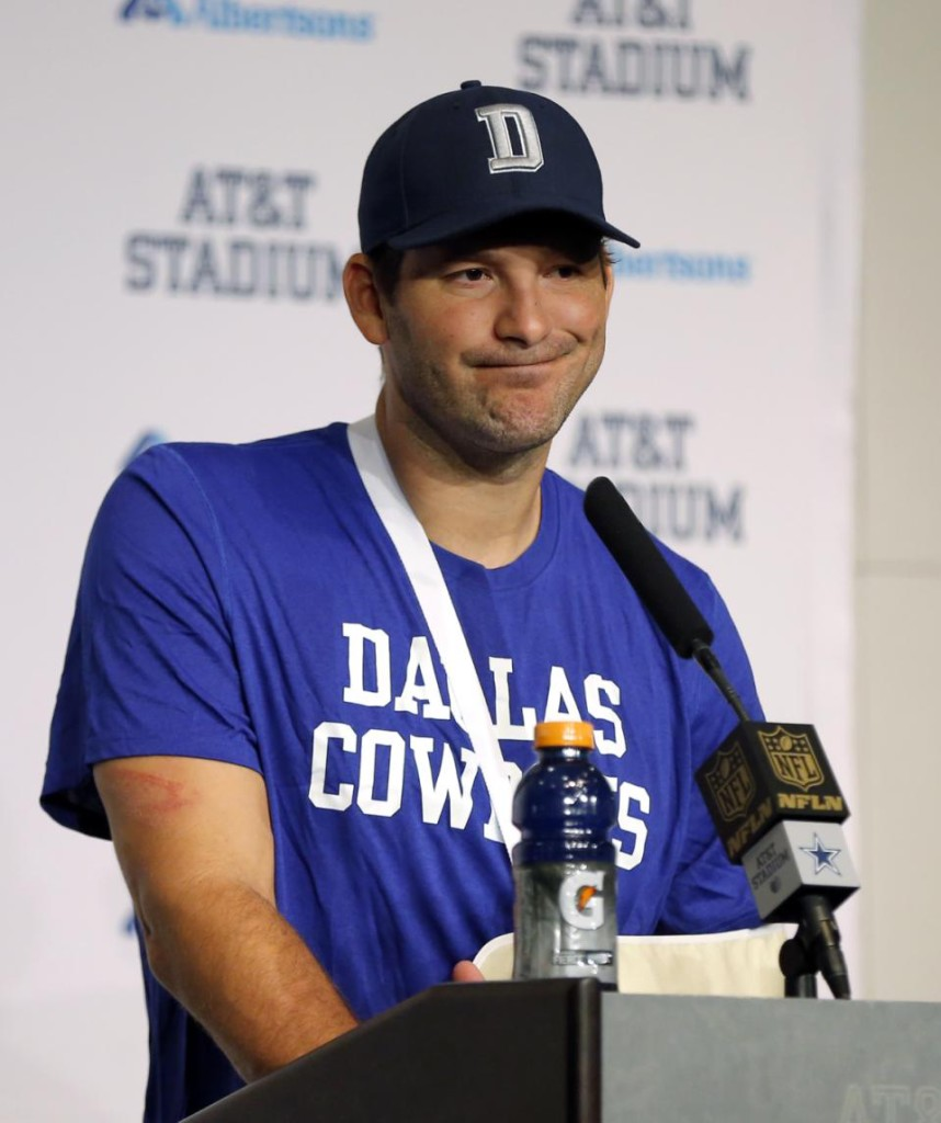 Dallas Cowboys quarterback Tony Romo attends a news conference after the Cowboys' 33-14 loss to the Carolina Panthers in an NFL football game Thursday, Nov. 26, 2015, in Arlington, Texas. (AP Photo/Brandon Wade)